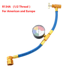 Manguera de carga de refrigerante para aire acondicionado R134A, con indicador para coche (rosca 1/2 para América y Europa)