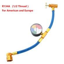 R134A Aria Condizionata Refrigerante Tubo di Carico con Manometro per Auto (1/2 Filo per Americano e In Europa)
