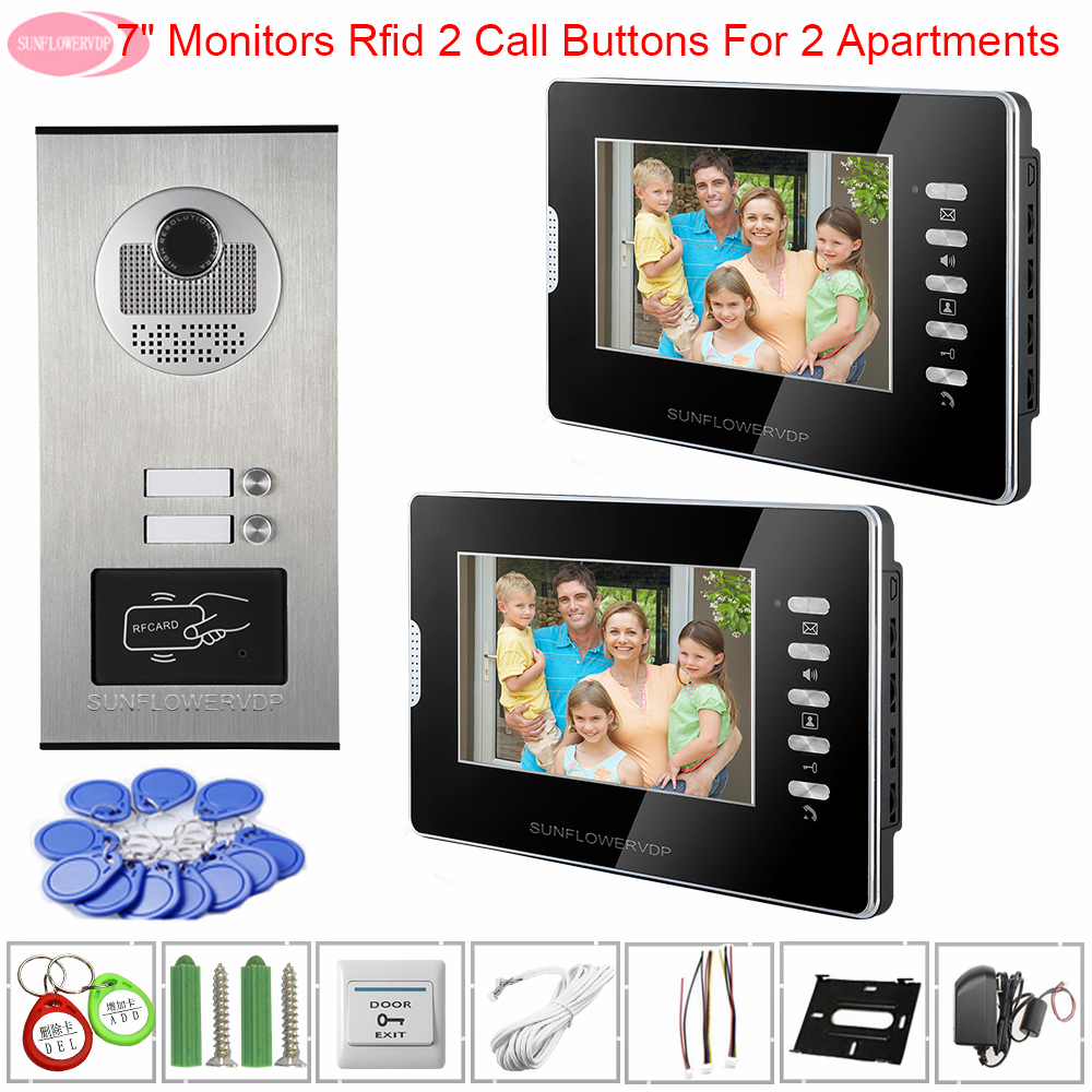 7inch Intercoms For An Apartments Video Doorbell With Monitors White/Black Intercom Camera Rfid Access Control Function Intercom