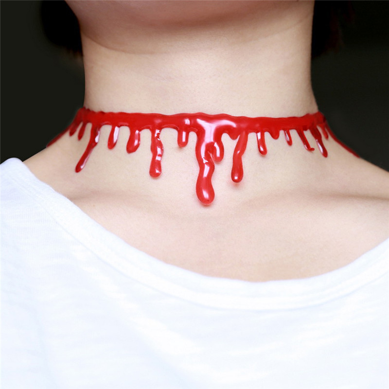 Halloween Women Fancy Dress Costume Bloody Red Necklace Accessory