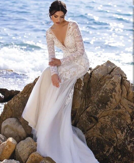 Beach Mermaid Wedding Dresses 2021 V-Neck Long Sleeve Lace Appliques Backless Tulle Bride Gown Sweep Train Vestidos De Noiva 3
