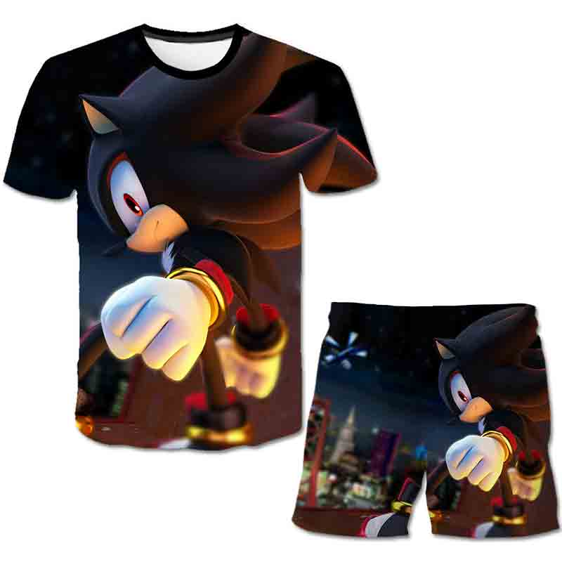 Summer Sonic the Hedgehog T-Shirt 3D Baby Boy Clothing Set Cute Cartoon Children Boys Clothes tops Shorts Suit for Kids Outfit 1