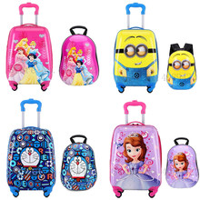 Cartoon Kid's Suitcase trolley Luggage travel rolling Luggage backpack set suitcase with wheel children's carry on Cabin luggage(China)