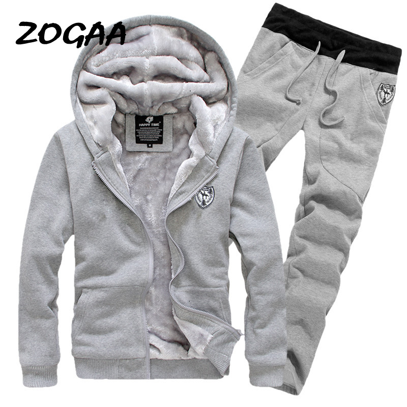 Zogaa New Fashion Autumn Winter Clothing Men's Clothing Thick Korean Hooded + Pants Roupas Masculinas Men Set Tide Jacket