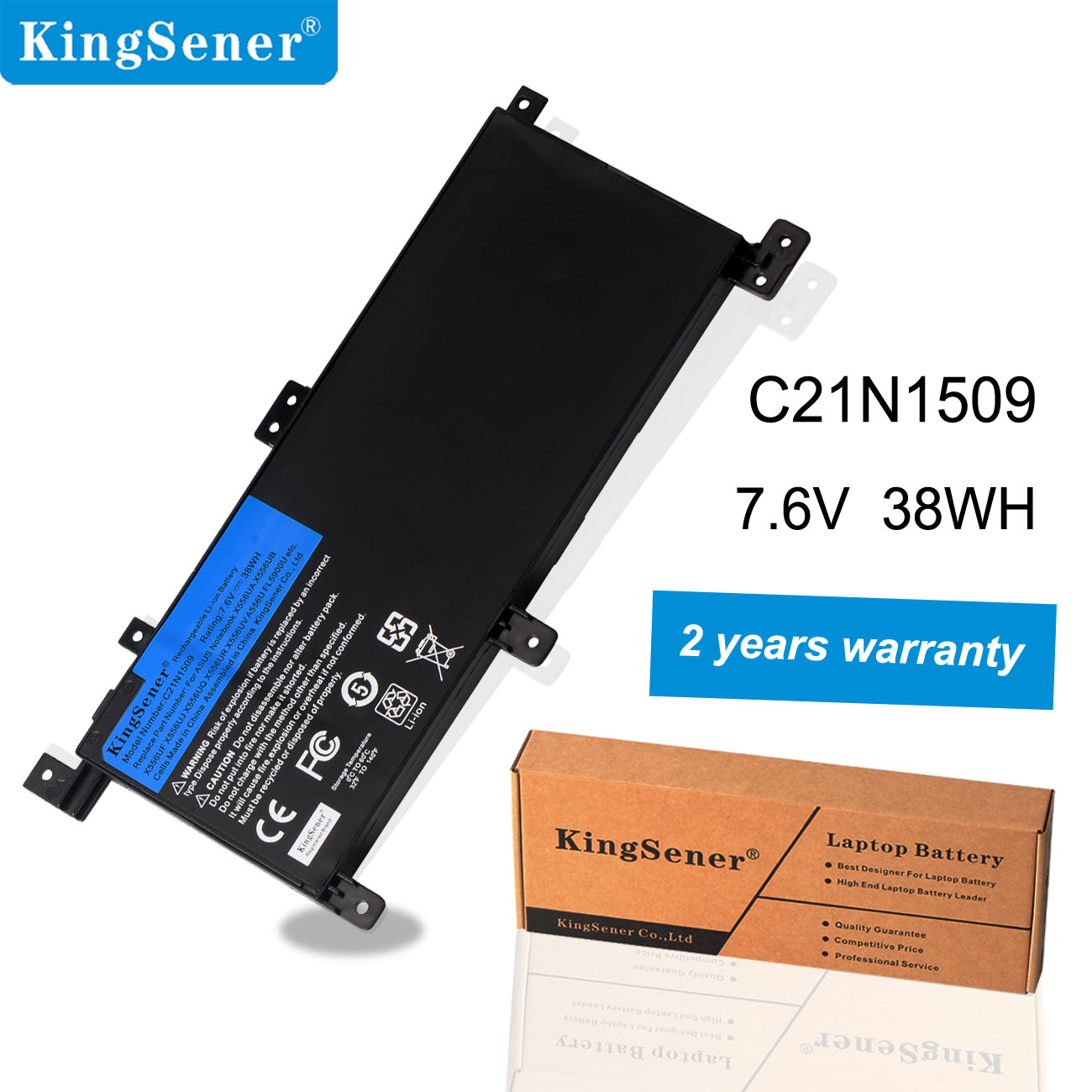 KingSener New C21N1509 Laptop battery for <font><b>ASUS</b></font> Notebook <font><b>X556UA</b></font> X556UB X556UF X556UJ X556UQ X556UR X556UV A556U FL5900U image