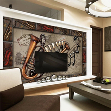 Papier Peint New Wallpaper European and American Style Retro Musical Instrument TV Background Living/Bedroom Decoration Murals