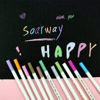 1 pçs metálico permanente tinta marcador caneta arte colorido bonito plástico suprimentos papelaria scrapbooking artesanato graffiti| |   -