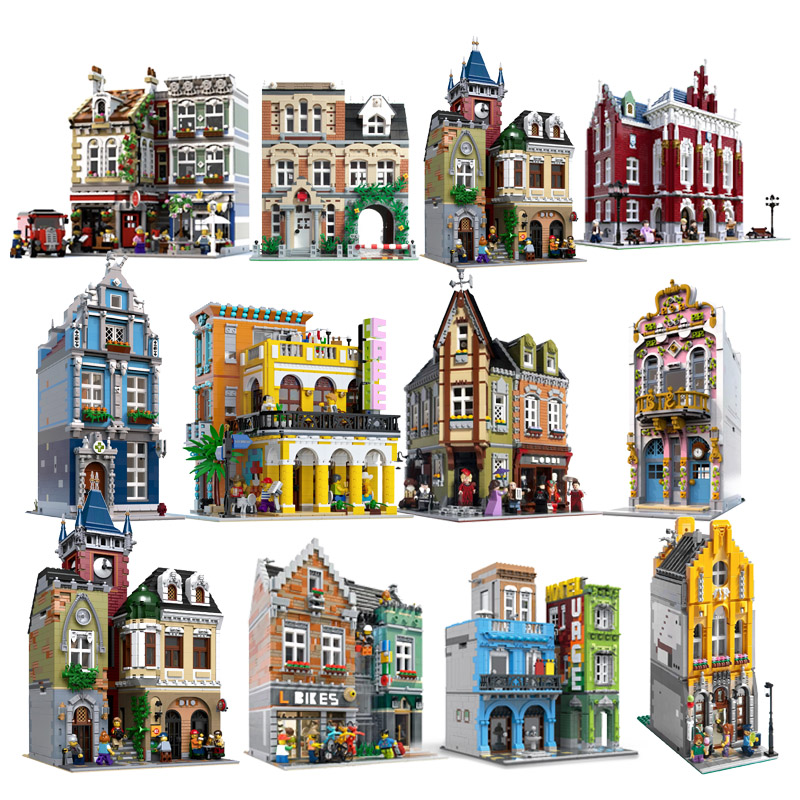 MOC City Streetview Series The Brickstive Bike Shop Street Shoes Cafe Model Building Blocks Bricks Kid Toys Gifts Christmas Gift