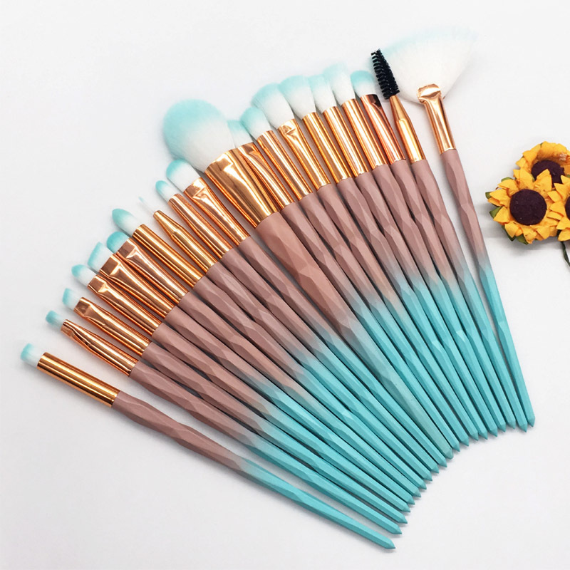 20pcs Diamond Makeup Brush Set Eye Brush Beauty Tools Fan Powder Eyeshadow Contour Beauty Cosmetic Colorful