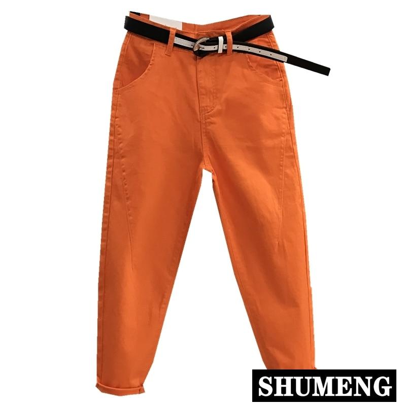 Orange Nine Point Jeans Women's Pants 2020 Spring New Korean Casual Candy Color Harem Pants Summer Trousers