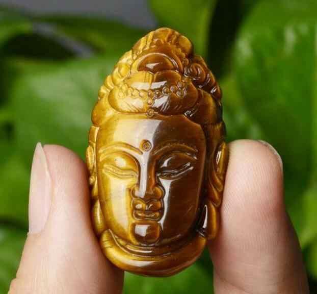 Collection bijoux naturel oeil de tigre pierre Guanyin Bodhisattva pendentif