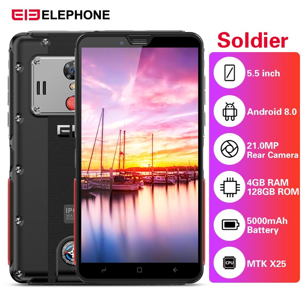 Elephone Soldier 4G Smartphone 5.5'' Android 8.0 MTK X25 4GB RAM 128GB ROM 21.0MP Rear Camera IP68 Waterproof 5000mAh Cellphones