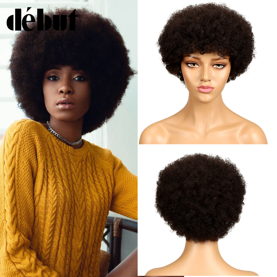 Debut Short Human Hair Wigs Brazilian Remy Hair Afro Kinky Curly Wigs For Black Women Ombre Human Hair Wig Free Shipping