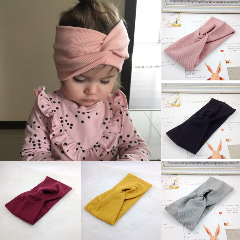 Spring Baby Solid Cross Knitted Headband For Girls Women Kids Twisted Elastic Hairband Turban Newborn Children Hair Accessories