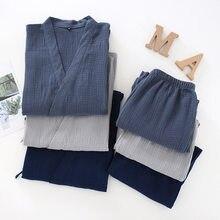 2021 Japanese Kimono Set 100%Cotton Pajamas Two-piece Couple Yukata Loose Men's And Women's Sweat Steaming Suit Home Service Set