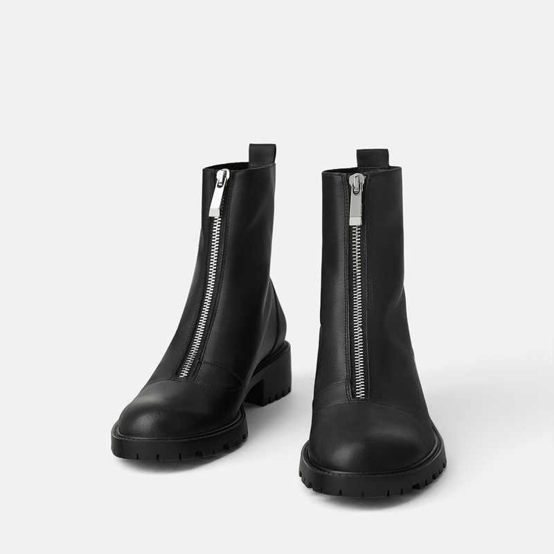 Kadın yuvarlak botları kafa kısa çizmeler kızlar çizmeler kare tek çizmeler kadın