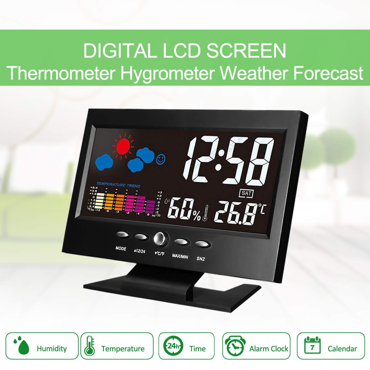 Weather Station Car Thermometer LCD Color Screen Indoor Temperature Humidity Calendar wiith UBS Cable Alarm Clock