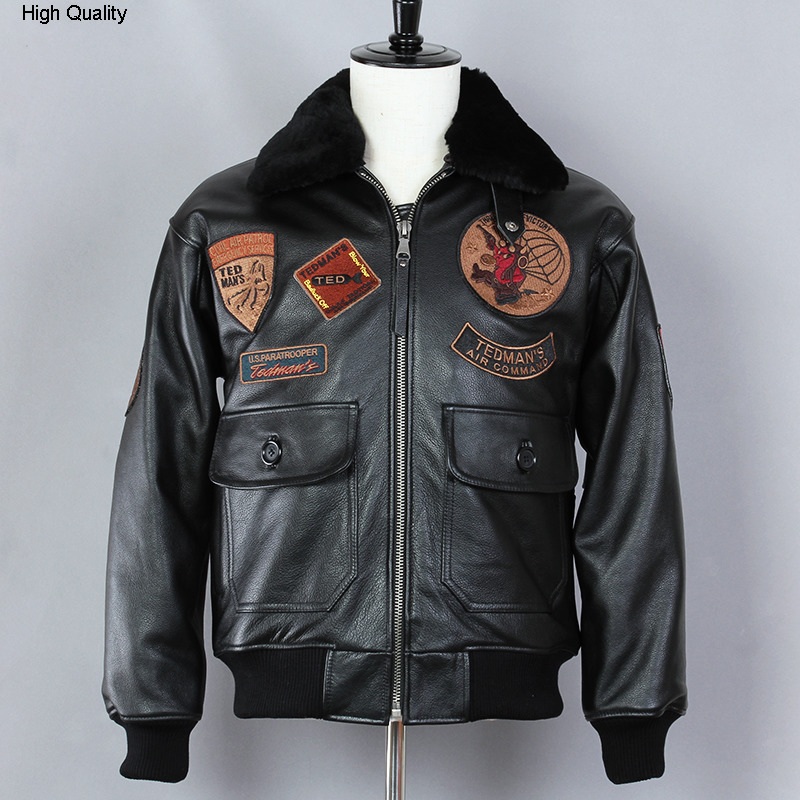 Fly Air Force Jacket Black Fur Collar Genuine Leather Jacket Men Bomber Jacket Cow Leather Motorcycle Real Leather Coat