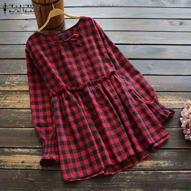 ZANZEA 2020 ฤดูใบไม้ผลิลายสก๊อตเสื้อผู้หญิง O คอยาวแขนเสื้อ Ruffles Femme Retro Blusas 5XL ลำลองเสื้อ
