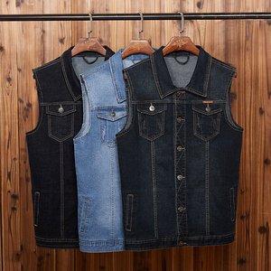 Image 2 - Mens denim vest mens spring blue outdoor multi pocket vest sleeveless 8XL 7XL 6XL 5XL large size denim vest handsome tide