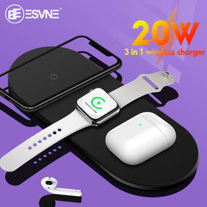 ESVNE Wireless-Charger Airpods Dock-Station iPhone 11 Fast Samsung 20W for 3-In-1 Qi