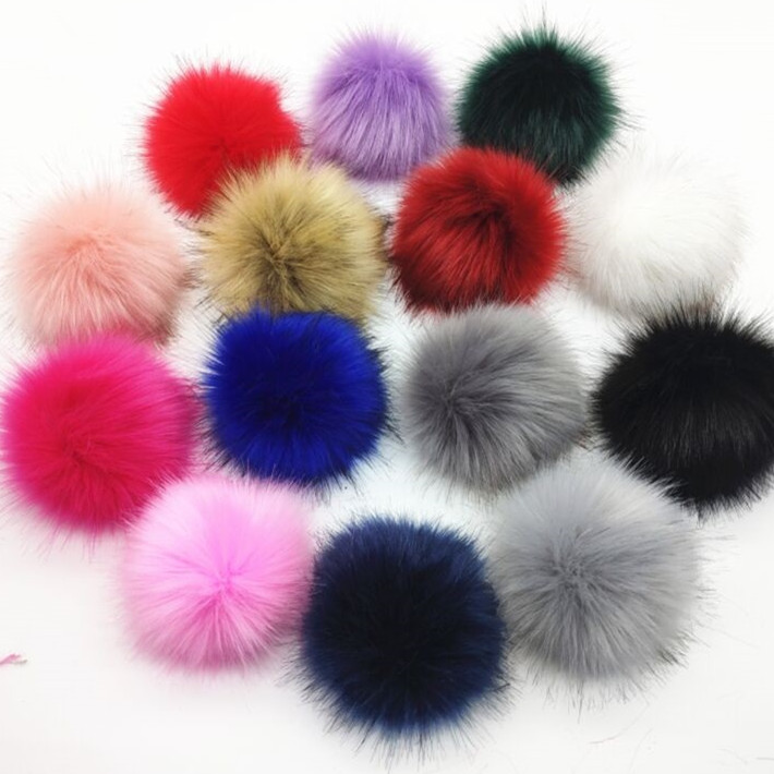 Winter Colorful DIY 12cm Faux Fur Ball For Beanies Cap Artificial Fur Pompom Hairball For Hat Bag Shoes With Snaps Button