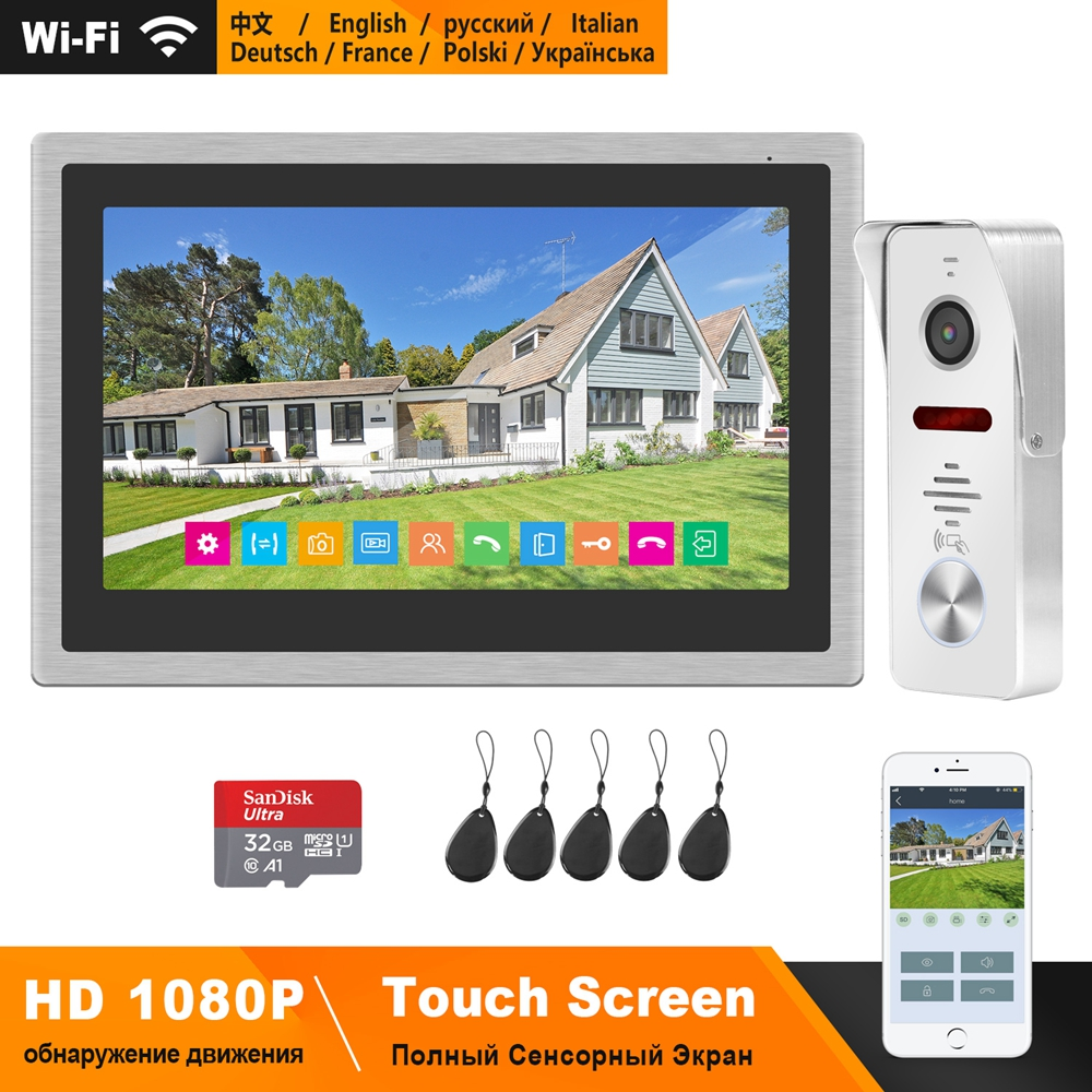 HomeFong Wireless Wifi Smart Video Door Phone Intercom System 10 Inch Touch Screen HD 1080P Doorbell Camera Support Swiping Card