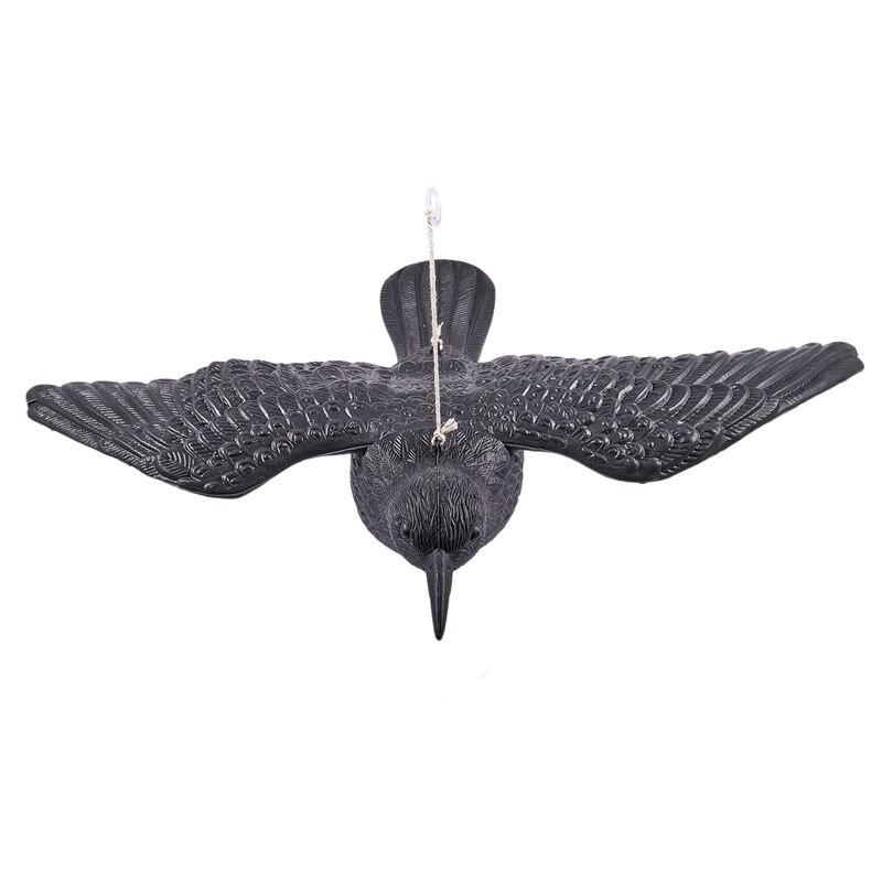 ABGZ-SEÑUELOS DE CAZA pájaros negros Cuervo jardín pájaro llamador Deter Scarecrow ratones Control de plagas repelente caza bueno Mal Cuervo Cable