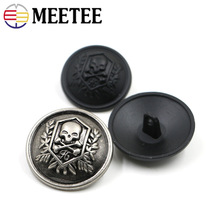 20pcs Meetee Metal Buttons 12-25mm Skull Head Antique Silver Jeans Coat Jacket Button Clothes Decor  Sewing Accessories