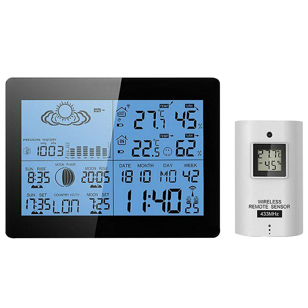 AOK 5019 Office Practical Weather Station Wireless Thermometer Multifunctional Tester LCD Display Clock Portable Indoor Outdoor