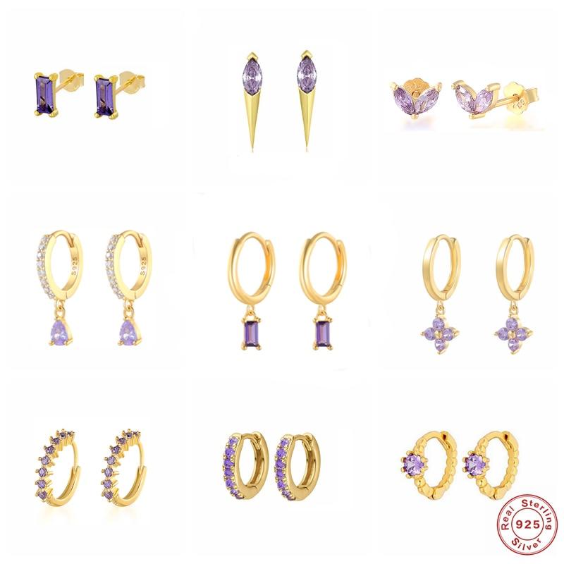 S925 Sterling Silver Stud Earring Korean Romantic Purple Zircon Earring For Valentine's Day Crystal Jewerly Piercing Pendientes Stud Earrings  - AliExpress
