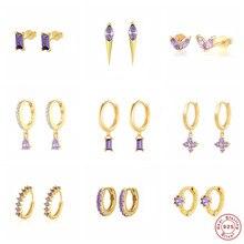 Boucles d'oreilles à clous en argent Sterling S925, bijoux romantiques coréens en Zircon violet pour la saint-valentin en cristal