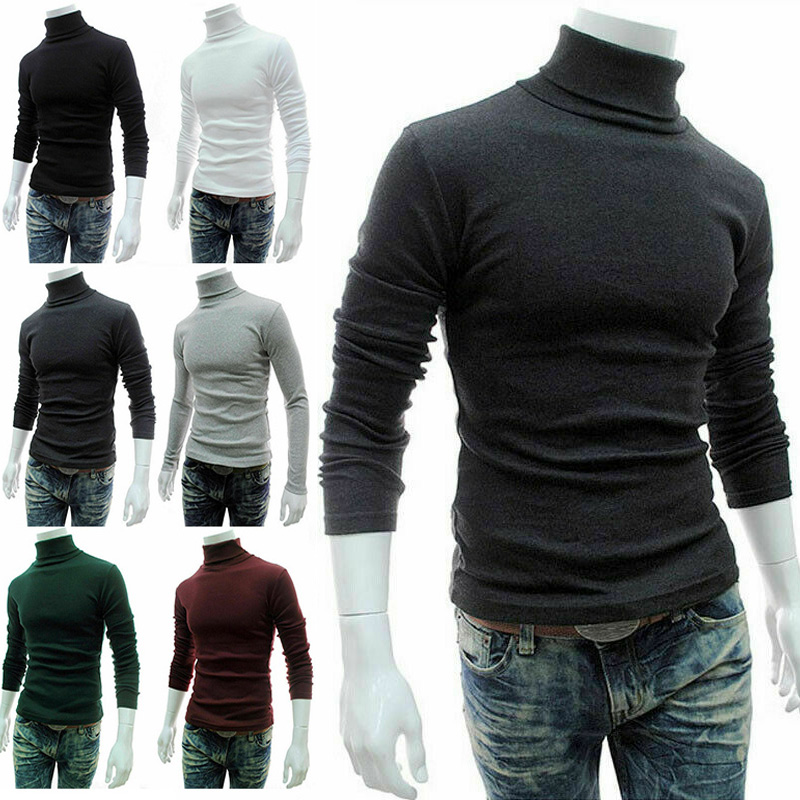 Newly 2019 Men Long Sleeve Pullover Turtleneck Stretch Sweaters Slim Thin Knitted Sweaters Mens Solid Color Casual Knitwear