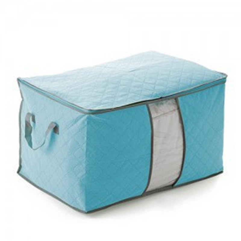 Non Woven Fabric Folding Storage Box Dirty Clothes Collecting Case With Zipper For Toys Quilt Storage Box Clear Window Organizer - Цвет: 60x42x36cm Blue