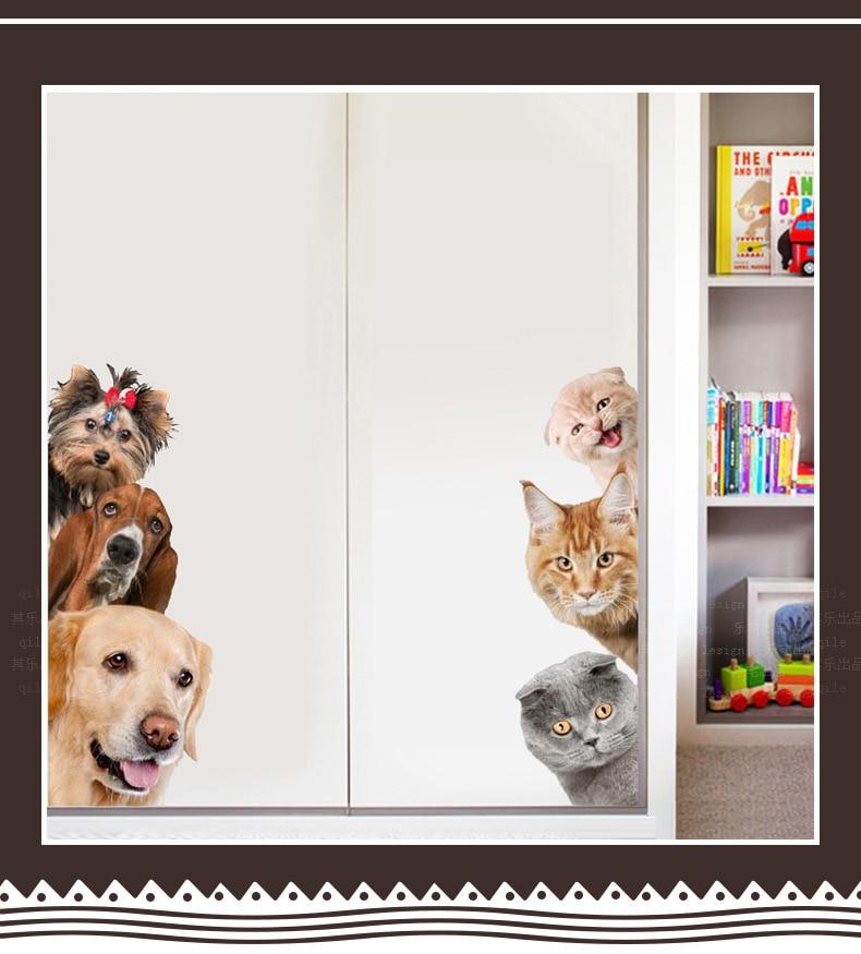 3D funny cat and dog Wall sticker, door, window, closet, fridge, kids room decorations, home decor, animal drawing vinyl sticker