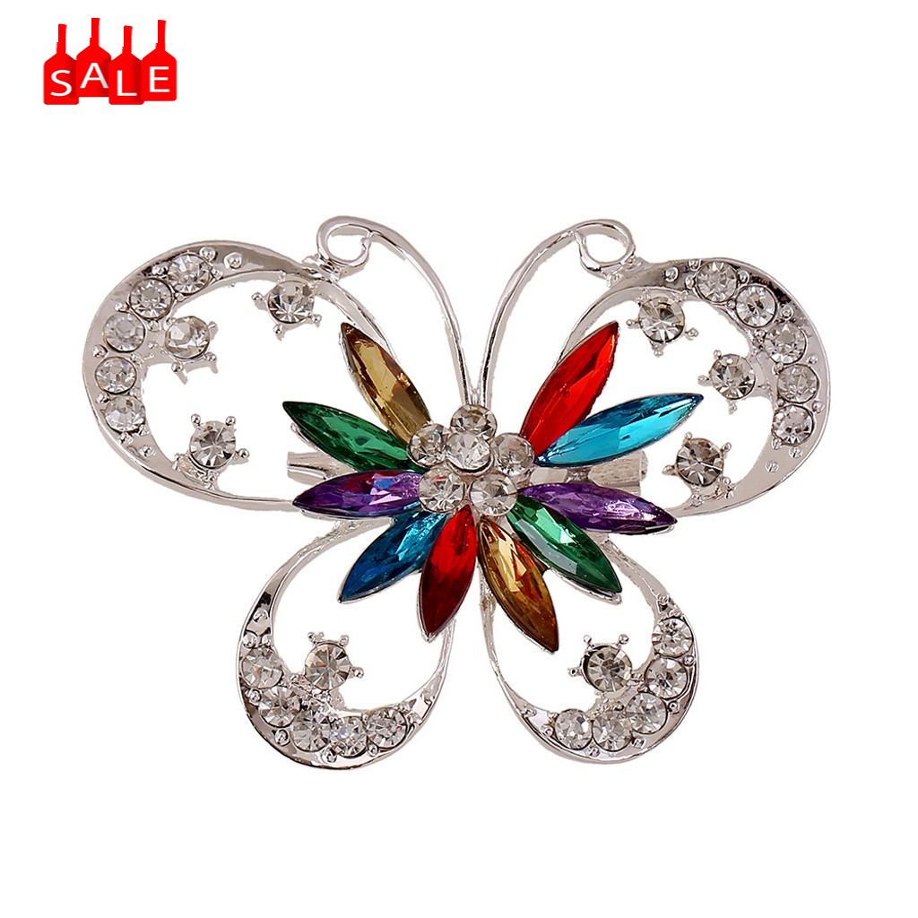 Brooch Pin Diamond Butterfly Wedding Bridal Rhinestone Shawl Clip Ladies Jewelry Pin Dress Coat Accessories Cute Jewelry #ZD