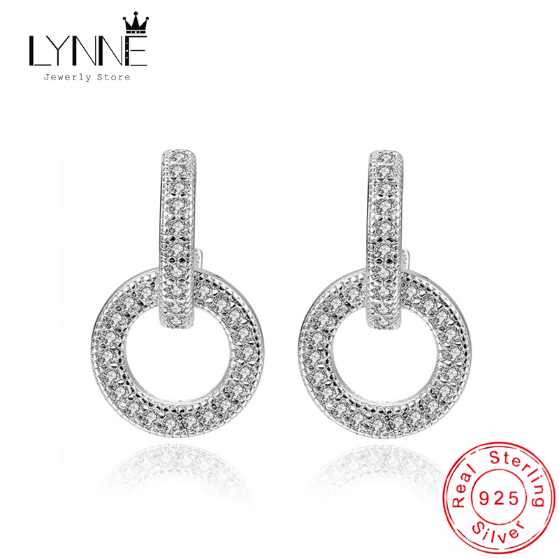 New 925 Sterling Silver Fashion Exquisite Round Rhinestone Drop Earrings Punk Rock Arch Bridge Pendant Ear Stud Women Jewelry