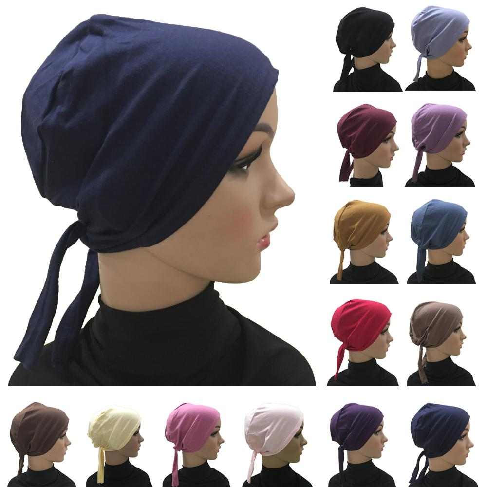 Women Hat Cotton Head Bandana Under Scarf Bonnet Cap Headwear Muslim Inner Hat Chemo Islamic Arab Beanies Skullies Casual