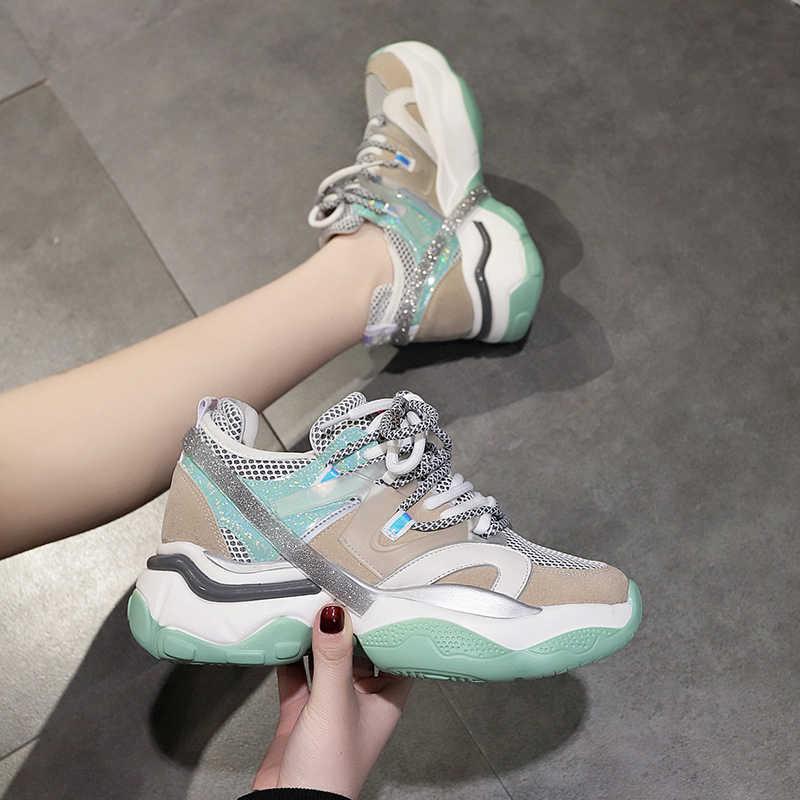 MBR FORCE 2020 nowe kliny Sneaker kobiety płaski obcas buty moda Mujer swobodna koronka up oddychające grube dno obuwie damskie
