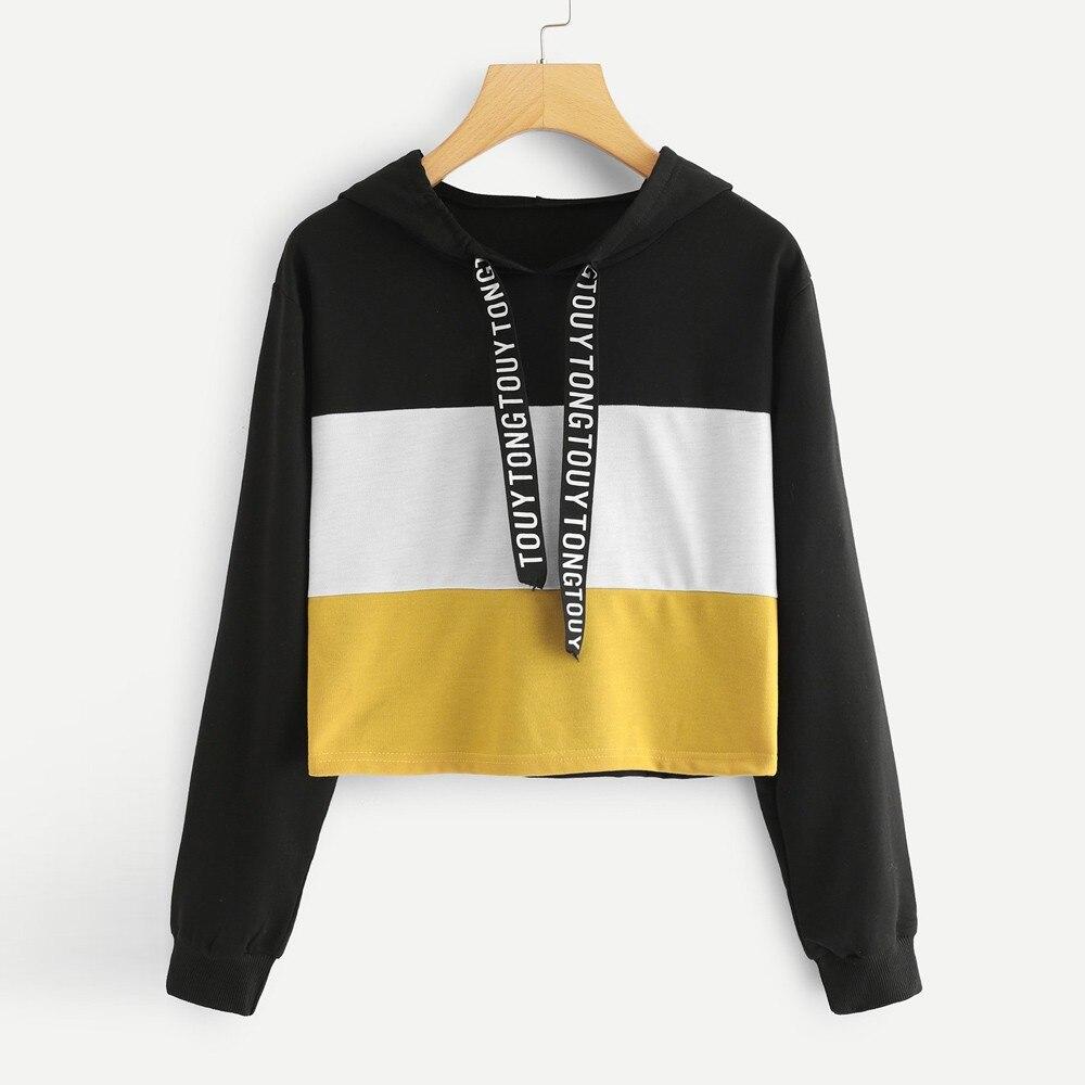 2020 Women's Hoodies Long Sleeve Letter Print Tape Drawstring Hoodie Colorblock Sweatshirt