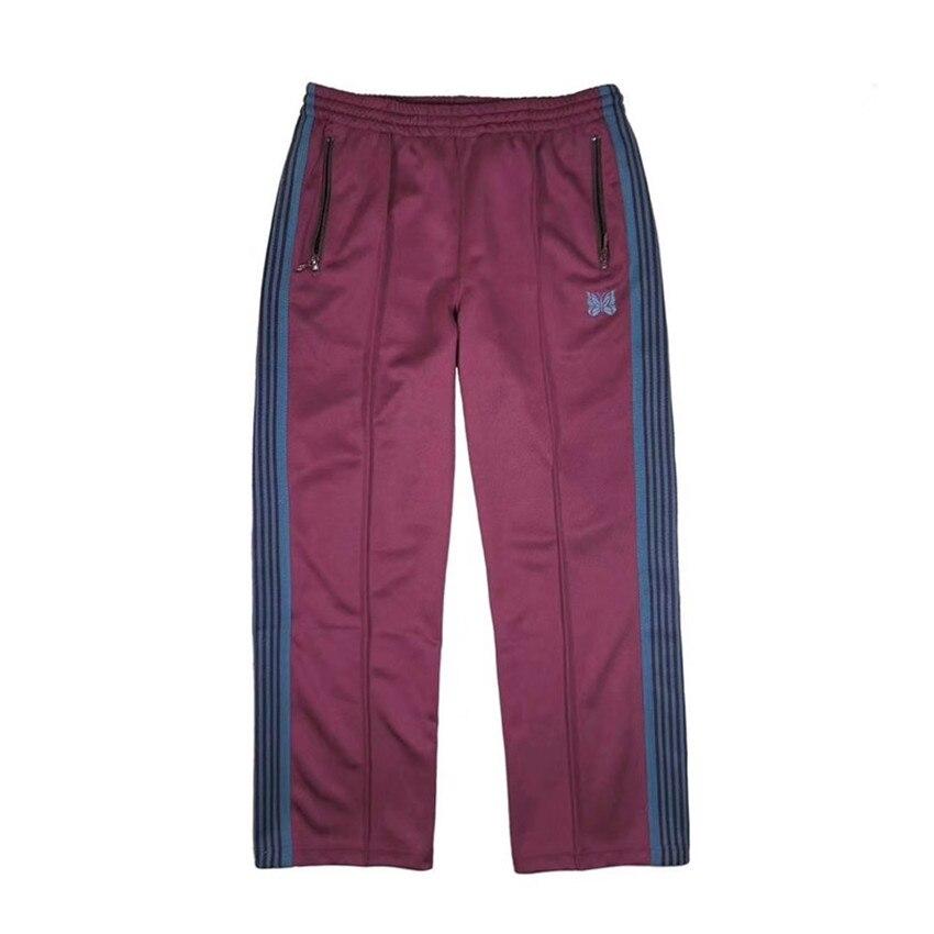 Purple AWGE Needles Sweatpants Women Men Thick Keep Warm Butterfly Embroidery 19FW Drawstring AWGE Sweatpants