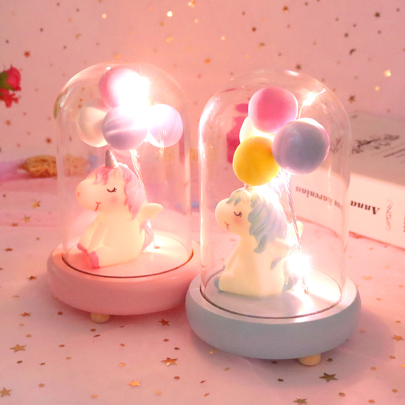 Resin Cute LED Unicorn Balloon Night Light Animal Bedside Lamp Baby Nursery Birthday Christmas Gift For Kids Home Decoration
