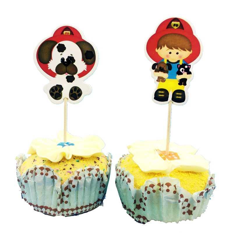 24pcs כבאי אש משאית כלב עוגת toppers cupcake מבחר מקרי אש לוחם ילדים מסיבת יום הולדת קישוט תינוק מקלחת סוכריות בר