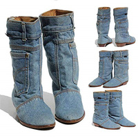 New Fashion Mid calf Boots Women Denim Material Boots Slip on Waterproof Warm Shoes Ladies Mujer Working Booten blue size 34 43