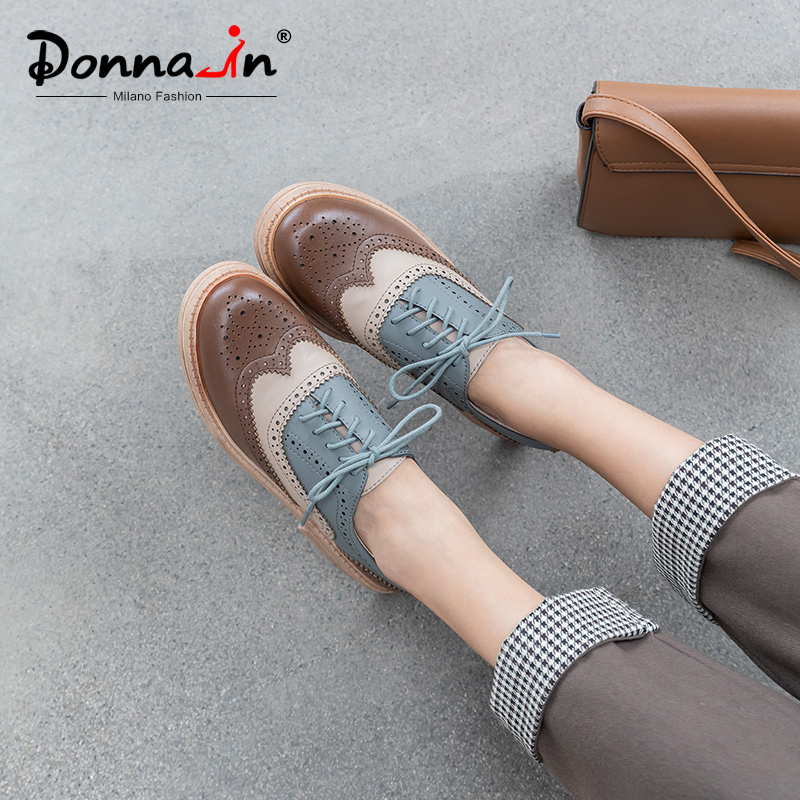 Donna-in Spring Brogue Carved Oxfords For Women Casual Real Leather Lace Up Ladies Shoes With Heels Mixed Color Chaussures Femme