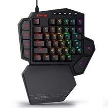 Redragon Teclado mecánico K585 DITI para jugar, con una sola mano, RGB, 42 teclas, interruptor azul, LED, mano izquierda, Mini teclado para juego móvil