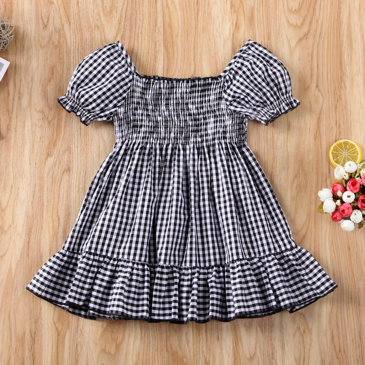 Pudcoco Toddler Baby Girl Clothes Plaids Off Shoudler Short Sleeve Ruffle Dress Princess Pageant Party Tutu Dress Clothes