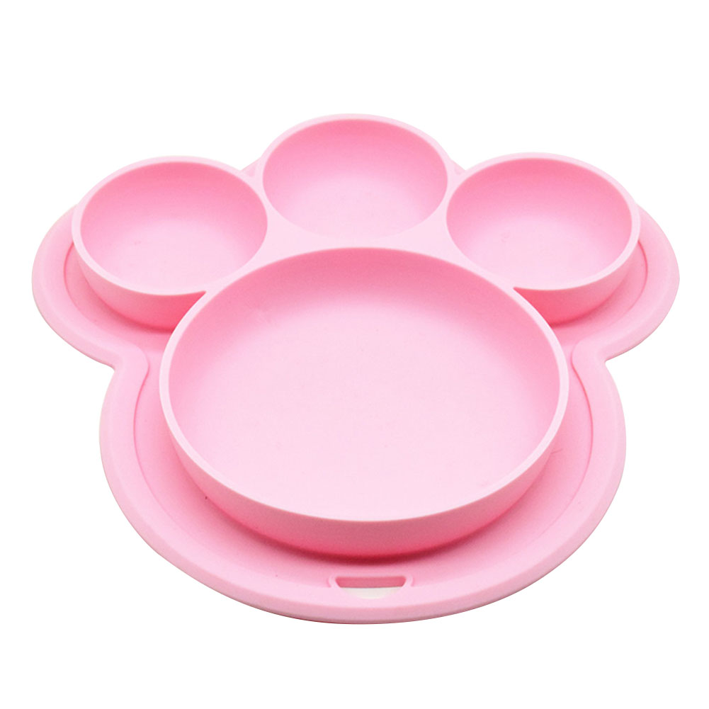 Kids Food-grade Silicone Home Dinner Dish Baby Plate Tableware Bear Paw Shape Children Training Cartoon Bowls Suction Toddler