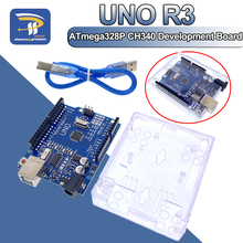 UNO R3 CH340Cบอร์ดพัฒนากรณีATmega328Pชิป16Mhz CH340 CH340GสำหรับArduino DIYชุดสายUSB