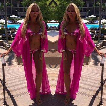 2020 Summer Beach Cover Up Women Chiffon Dress Robe Plage Candy Color Kaftan Bikini Cover-up Tunic Sarong Swimsuit chiffon beach tunic dress cover up bikini swim robe de plage femme solid pareos sarong swimsuit